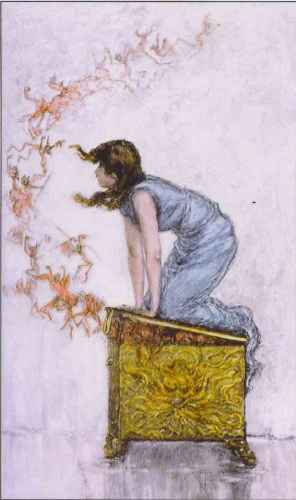 Pandora pokušava da zatvori kutiju koju je otvorila iz radoznalosti...